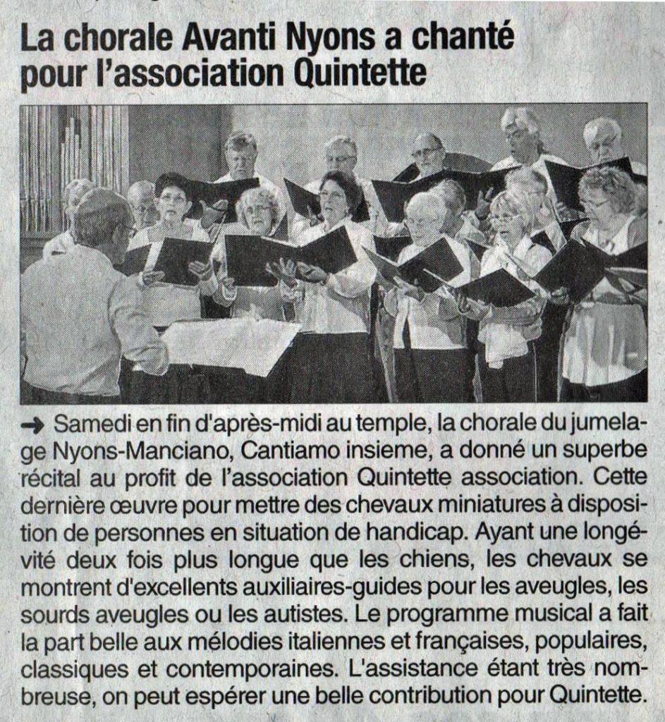 Article Dauphiné Libéré - Concert Nyons